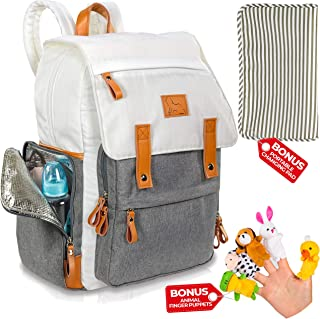Diaper Bag Backpack - Designer Travel Baby Backpack for Girls and Boys, Large Capacity Multi-Function Waterproof Backpack Diaper Bag Organizer for Mom and Dad with Changing Pad and Insulated Pockets