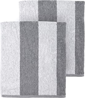 Arkwright Clear Water Cabana Striped Oversized Beach Towel Pack of 2 (30 x 70 inch, Gray)