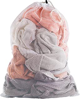 Commercial Mesh Laundry Bag - Sturdy Mesh Material with Drawstring Closure. Ideal Machine Washable Mesh Laundry Bag for Factories, College, Dorm and Apartment Dwellers. (24