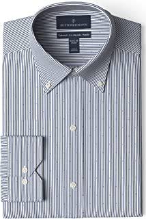 "Buttoned Down Men's Tailored Fit Button-Collar Pattern Non-Iron Dress Shirt, Navy/Red Stripe Dot 18.5"" Neck 35"" Sleeve"