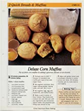 Great American Home Baking Recipe Card: 2 Quick Bread & Muffins - Card 21 Deluxe Corn Muffins (Replacement Page or Recipe Card For 3-Ring Binders)