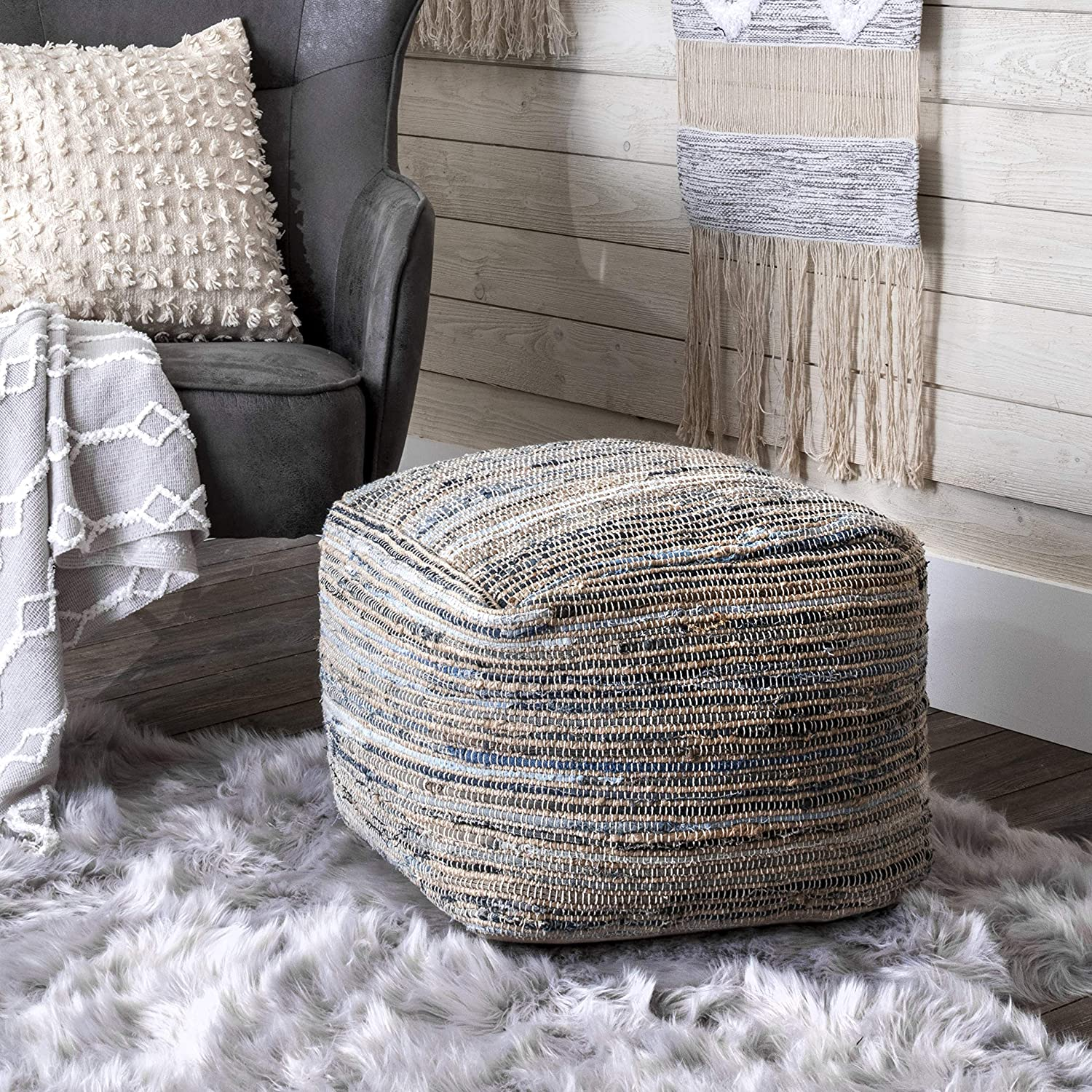 nuLOOM Granada Knitted Casual All stores are sold Denim Sale item Ottoman Jute Pouf and