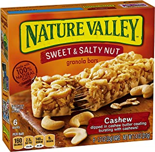 Nature Valley Granola Bars, Sweet and Salty Nut, Cashew, 6 Bars - 1.2oz
