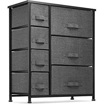 7 Drawers Dresser - Furniture Storage Tower Unit for Bedroom, Hallway, Closet, Office Organization - Steel Frame, Wood Top, Easy Pull Fabric Bins Black/Charcoal
