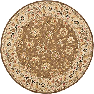 Safavieh Chelsea Collection HK505B Hand-Hooked Brown and Ivory Premium Wool Round Area Rug (4' Diameter)