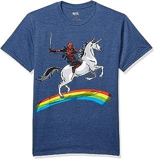 Marvel Men's Deadpool Riding A Unicorn On A Rainbow T-Shirt
