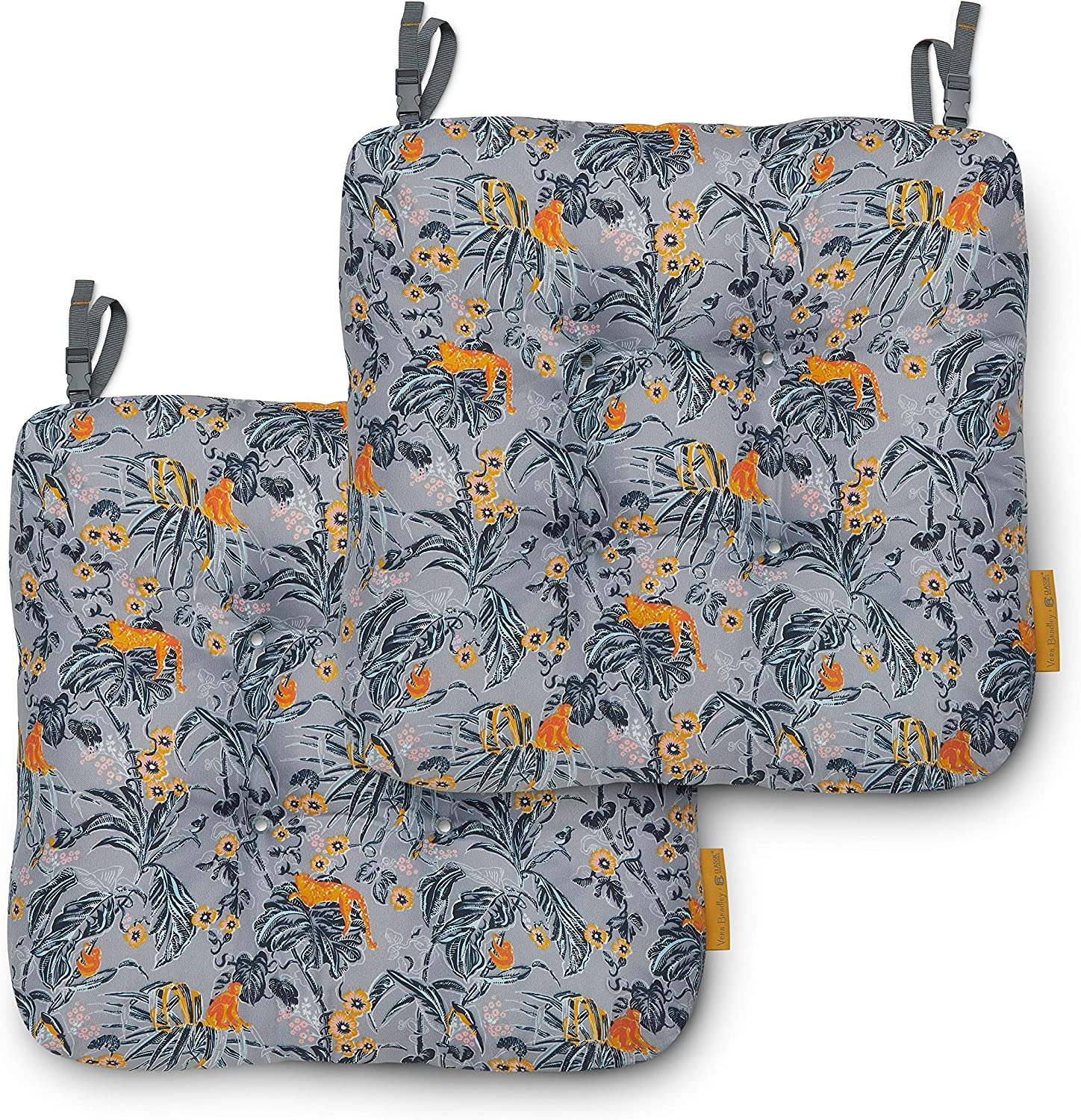 Vera Bradley by Classic Accessories Water-Resistant Patio Chair Cushions, 19 x 19 x 5 Inch, 2 Pack, Rain Forest Toile Gray/Gold