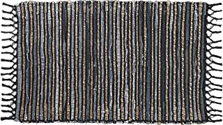 Glamburg Hand Woven Reversible Denim Jute Rug, Cotton Jute Chindi Rug 21x34 Inch, Rag Rugs for Living Room Bedroom Kitchen Entryway Hallways, Vintage Farmhouse Rug