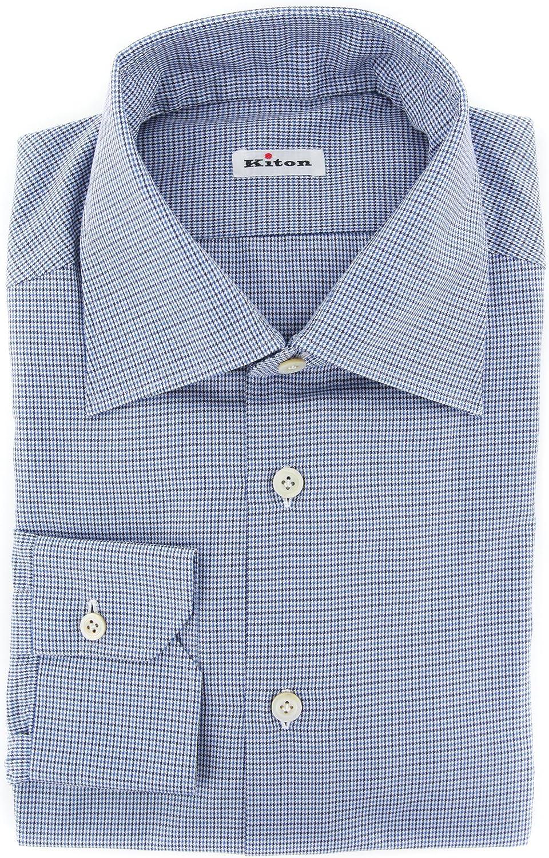 Kiton Stripes Button Down Cutaway Collar Cotton Slim Fit Dress Shirt