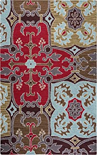 Rizzy Home Country Collection Wool Area Rug, 3' x 5', Multi/Gray/Rust/Blue Ornamental