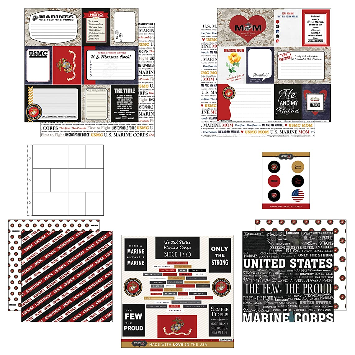 Scrapbook Customs Themed Paper and Stickers Scrapbook Kit, Marine Mom Journal