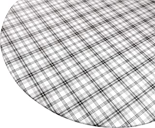 "Round Vinyl Tablecloth with Stitched Elastic Edge for Snug Fit – Heavy Duty, Felt Back, Plaid Pattern Table Cover, Easy Clean Up – Gray, Black, White – Fits 45"" - 56"" Diameter Tables"