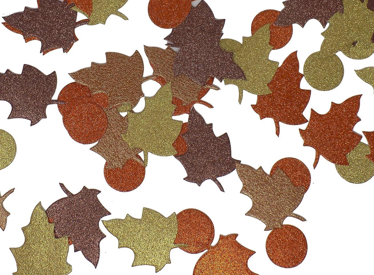 Large Autumn Fall Leaves Confetti Glitter Paper Die Cuts Orange, Brown, Copper