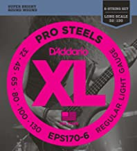 D'Addario EPS170-6 6-String ProSteels Bass Guitar Strings, Light, 32 130, Long Scale