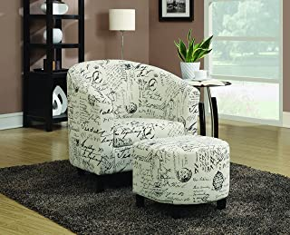 2-Piece Accent Chair and Ottoman in French Script Pattern Off White