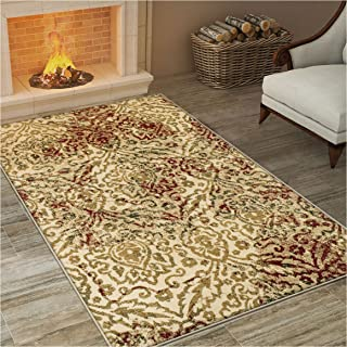 Superior Ophelia Collection Area Rug, Vintage Ikat Damask Pattern, 10mm Pile Height with Jute Backing, Affordable Contemporary Rugs - Cream, 8' x 10' Rug