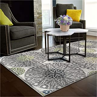 Superior Rosette Collection Area Rug, 6mm Pile Height with Jute Backing, Affordable Contemporary Rugs, Modern Geometric Medallion Rosettes - 5' x 8' Rug, Black, Grey, Blue, and Green