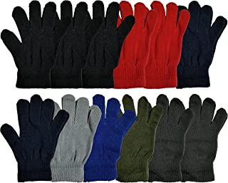 Winter Magic Gloves, 12 Pairs Stretchy Warm Knit Bulk Pack Mens Womens, Wholesale