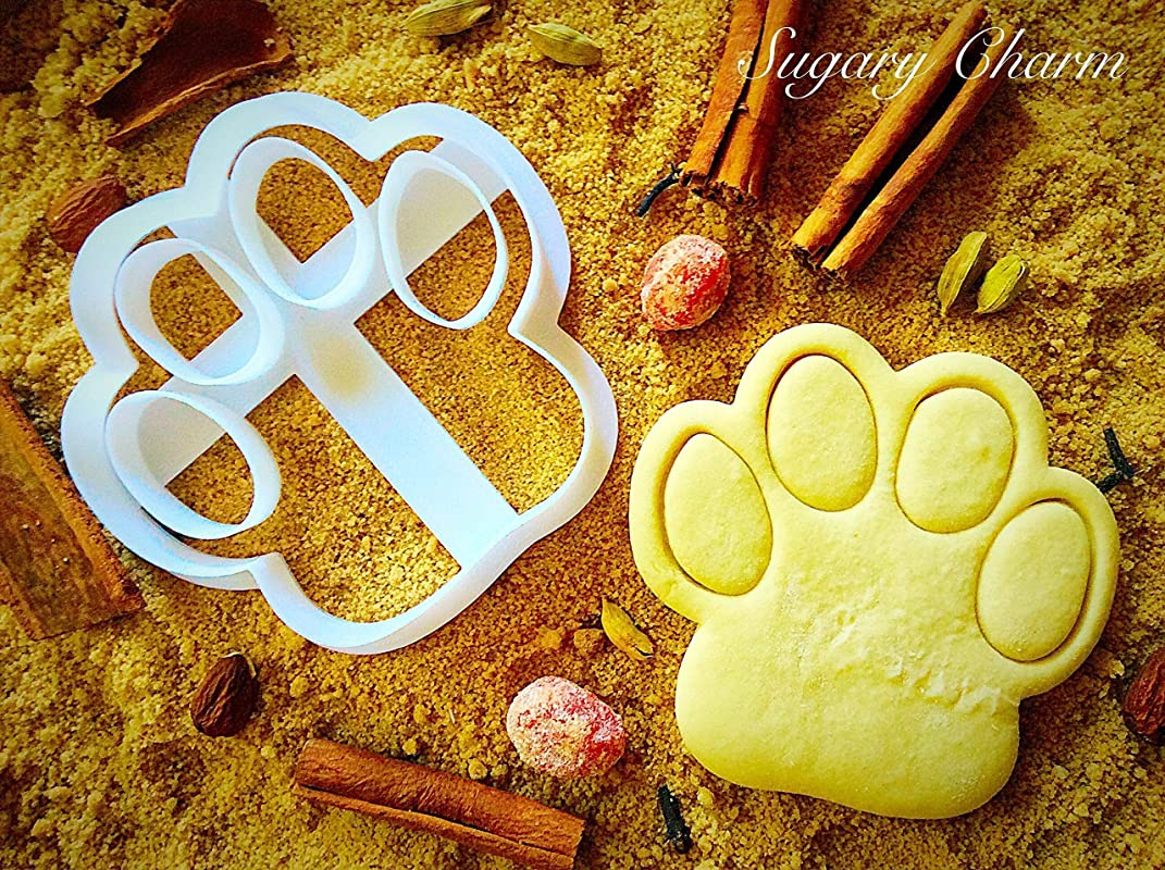 Dog Paw Cookie Cutter Small Puppy Treat By Sugary Charm Mini 3d Shaped Pawprint Cutters For Biscuits Kitchen Shapes For Bulldog Lovers Doggie Cookies Print Gift