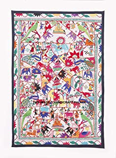 HANDICRAFT-PALACE Embroidered Vintage Tapestry Wall Hanging Decorative Handmade Indian Ethnic Gujarati Kutch Vintage Art