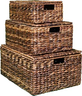 BIRDROCK HOME Abaca Nesting Baskets - 3 baskets - Environmentally Friendly