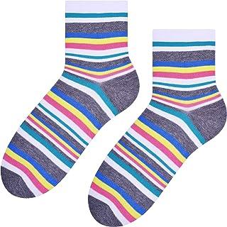 Steven, Calcetines de algodón escotado para mujer, duraderos y cómodos, colores gris/amarillo, talla EU 35-37
