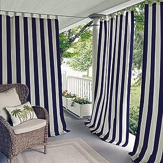 Elrene Home Fashions 26865874518 Indoor/Outdoor Tab Top Stripe Single Panel Window Curtain Drape, 50