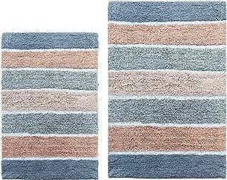 Chardin Home - 100% Pure Cotton - 2 Piece Cordural Stripe Bath Rug Set, (21''x34'' & 17''x24'') Pink-Gray with Latex Spray...