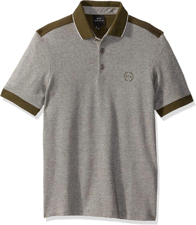 AX Armani 100%品質保証 Exchange 蔵 Men's Short Polo on Sleeve Stripes Shirt with