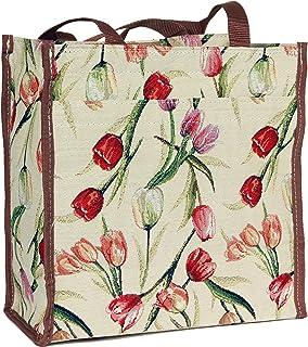 Signare Womens Fashion Tapestry Shopper Bag Shoulder Bag Floral Tulip Design