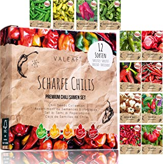 Chili Samen Set I 12 scharfe bis milde Chili Samen Sorten in höchster Qualität I von Carolina Reaperr Samen bis zu seltenen Chili Pflanzen Sorten für Chili Verrückte I Chili Samen Set von valeaf