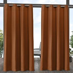 Exclusive Home Curtains Aztec Indoor/Outdoor Grommet Top Curtain Panel Pair, 54x84, Mecca Orange