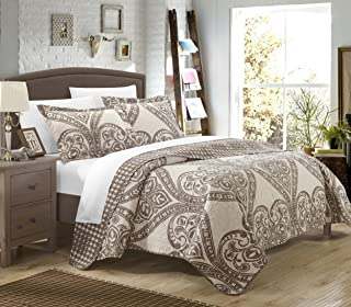 Chic Home 3 Piece Napoli Reversible Printed Quilt Set, King, Beige