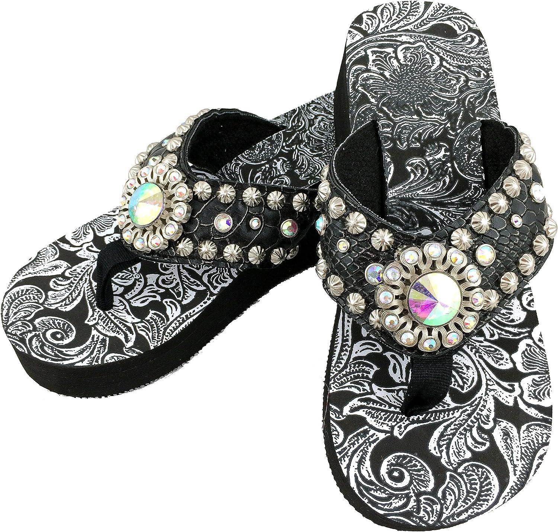 Western Peak Women's Black Croc PU Leather AB Gemstone and Rhinestone Flip Flop Sandals