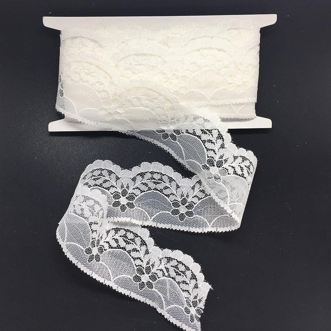 頑張る裁判所相反するELLA MAMA レーストリム DIY クラフトリボン スカラップエッジ 1-1/2インチ x 10ヤード フローラフラワーとリーフパターン 裁縫アップリケ クラフト ウェディングデコレーション ギフトラッピングリボンテープ