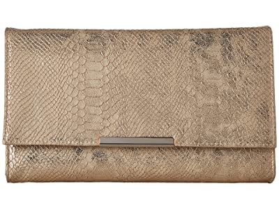 Jessica McClintock Nora Metallic Snake Large Envelope Clutch (Gold) Clutch Handbags