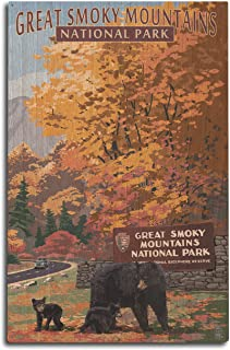 Great Smoky Mountains National Park, Tennesseee - Park Entrance and Bear Family (10x15 Wood Wall Sign, Wall Decor Ready to Hang)