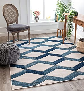 """Well Woven Good Vibes Millie Blue Modern Zigzag Stripes 5`3"""" x 7`3"""" 3D Texture Area Rug"""