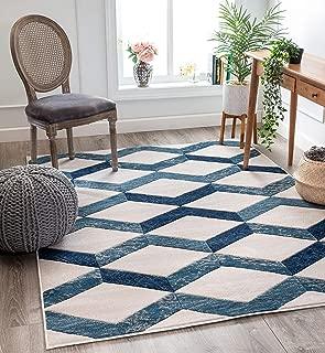 Well Woven Mandy Blue Modern Geometric Zigzag Stripes Pattern Area Rug 3x5 (3'11