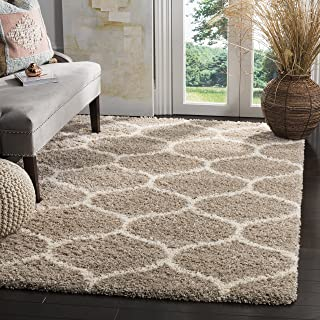 Safavieh Hudson Shag Collection SGH280S Beige and Ivory Moroccan Ogee Plush Area Rug (4' x 6')