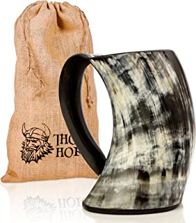 Thor Horn Drinking Horn Mug - Genuine Handcrafted Viking Horn Cup for Mead, Ale and Beer - Original Medieval Tankard with Burlap Gift Sack