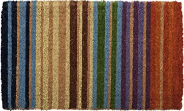 "Entryways Rainbow Stripe Hand Made Extra Thick Handmade, Hand-Stenciled, All-Natural Coconut Fiber Coir Doormat 18"" X 30"" ..."