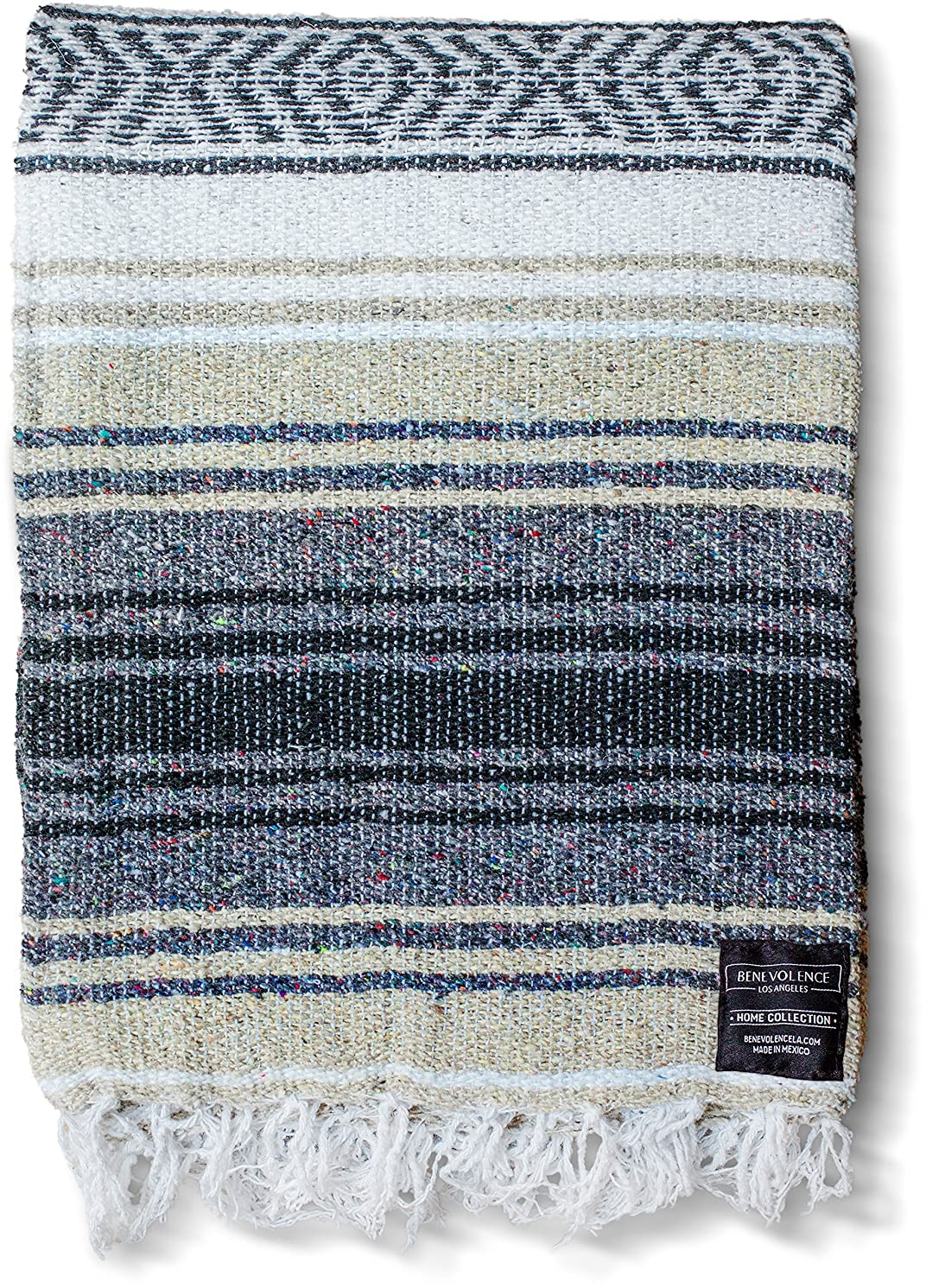 Mexican Blanket - Authentic Falsa Thick Soft Woven Acrylic Yoga Serape or as Beach Throw, Picnic, Camping, Travel, Hiking, Adventure, Pillow, Blankets in Pink, Mint, Sand, Gray, Sky Blue