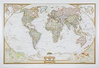 Craig Frames Wayfarer, Executive World Push Pin Travel Map, Satin White frame and Pins, 24 by 36-Inch