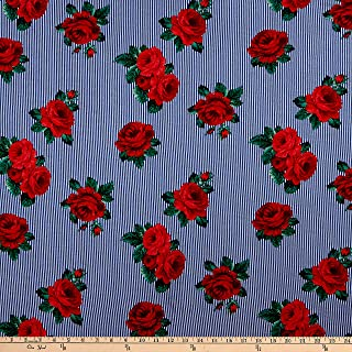 Fabric Rayon Spandex Jersey Knit Striped Roses Navy/Red
