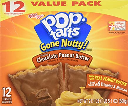 Kelloggs Pop-tarts Gone Nutty! Frosted Chocolate Peanut Butter(1box/12pastries)