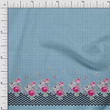 Soimoi Blue Cotton Voile Fabric Dot,Chevron & Floral Panel Fabric Prints by Yard 42 Inch Wide