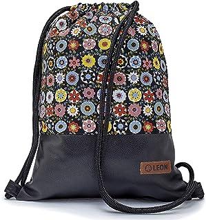 By Bers LEON Turnbeutel mit Innentaschen Rucksack Tasche Damen Herren & Teenager Gym Bag Draw String BuntBlumeSchwarzPU