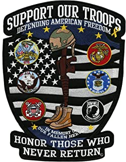 Support Our Troops Patch | US Military Shield Patriotic Army Navy Marines Veteran Large Embroidered American Flag - by Nixon Thread Co. (12