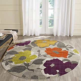 Safavieh Porcello Collection PRL7726C Grey and Yellow Round Area Rug (6'7